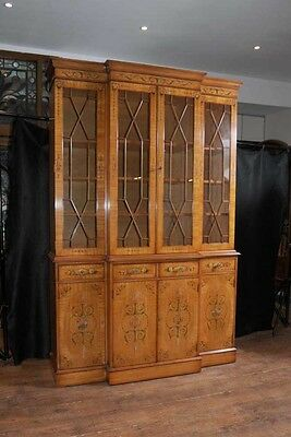 Regency Satinwood Breakfront Bookcase Painted Sheraton Antique