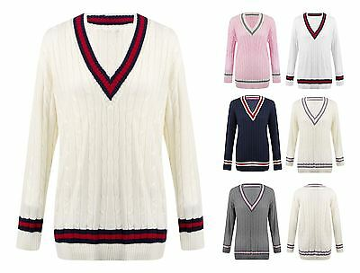 Womens Ladies Cable Knit V Neck Long Stretch Onesize Cricket Jumper Pullover Top