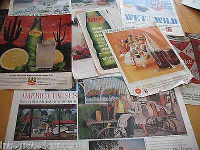 13 Paper / Magazine Advertisements for SODA  Coke / Squirt / 7-UP / Canada Dry