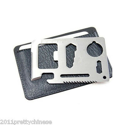 11 in 1 Multi Tool Army Hunting Survival Kit Pocket Credit Card Knife Camp