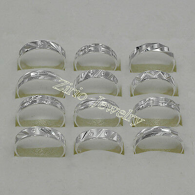 Wholesale Lots 10/20/50 925 Sterling Silver Plated Men's Carved Rings Size 8-11