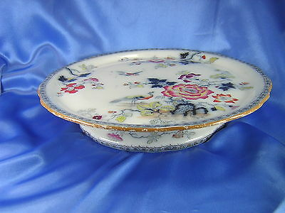 RARE 1845 LRG FLOW BLUE MULBERRY POLYCHROME CHEESE CAKE PEDESTAL STAND F. MORLEY