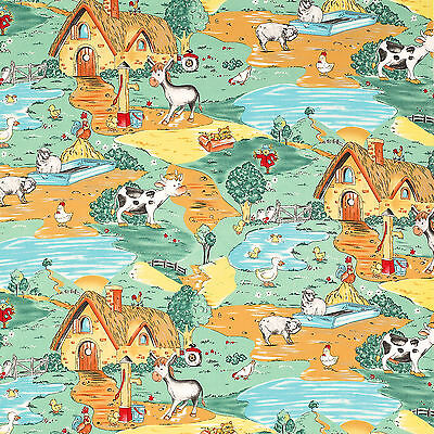 SOFT COZY FLANNEL FABRIC COTTON 100% NATURE ANIMAL CABIN BABY BLANKET CLOTH 41'W