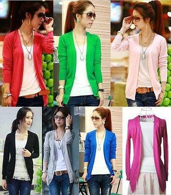 Women Misses Korean Casual Candy Color Long Sleeve Cardigan Knit Tops Knitwear