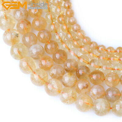 Natural Gemstone Citrine Quartz  Stone Loose Beads For Jewelry Making 15""