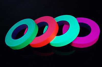 4 Pack 1 Inch UV Blacklight Reactive Fluorescent Gaffer Tape 4 Rolls x 50 Yards