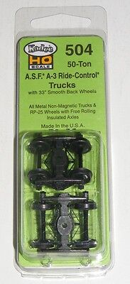 "Kadee HO scale # 504  ASF Ride Control Metal Sprung Trucks ~ 33""  RP-25 wheels ~"