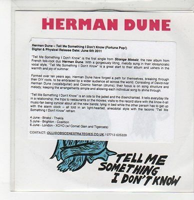 (DQ797) Tell Me Something I Don't Know, Herman Dune - 2011 DJ CD