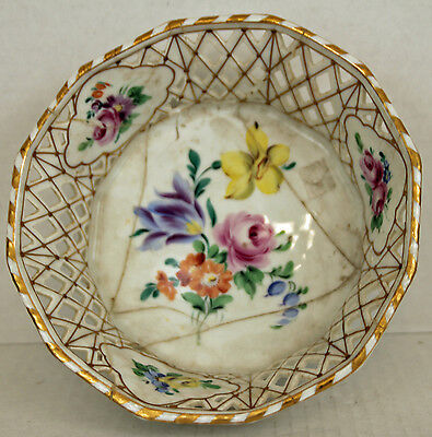 """WURTTEMBERG BAUER PFEIFFER BP 8 1/2"""" c1904 Porcelain Nut Candy Bowl Reticulated"""