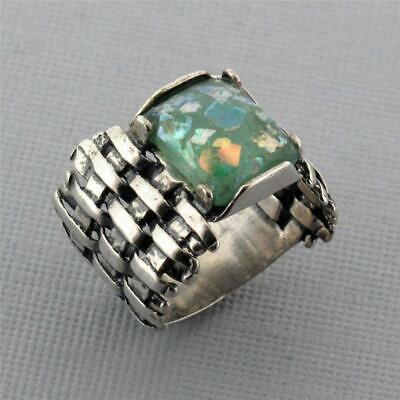 Rectangle Shaped Ancient Roman Glass Oxidized Woven Sterling Silver Ring Blue Gr