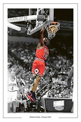 Michael Jordan Chicago Bulls Signed Photo Print