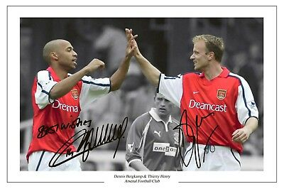 Henry + Bergkamp Arsenal Autograph Signed Photo Print