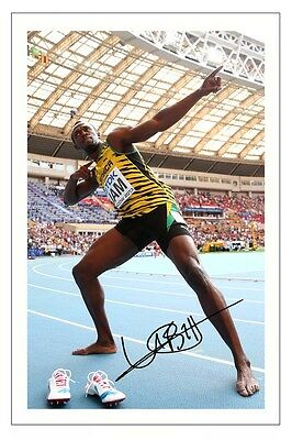 Usain Bolt 100 200 Metres Autograph Signed Photo Print Poster