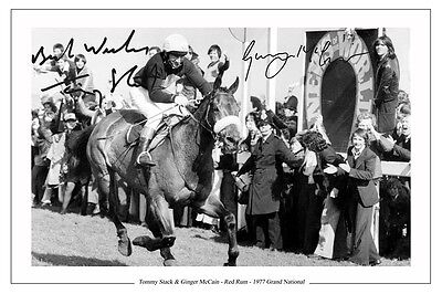 TOMMY STACK & GINGER McCAIN RED RUM GRAND NATIONAL SIGNED AUTOGRAPH PRINT