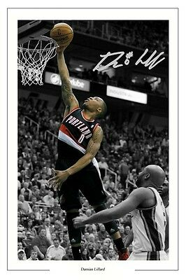 Damian Lillard Portland Trail Blazers Signed Photo Print Basketball Autograph