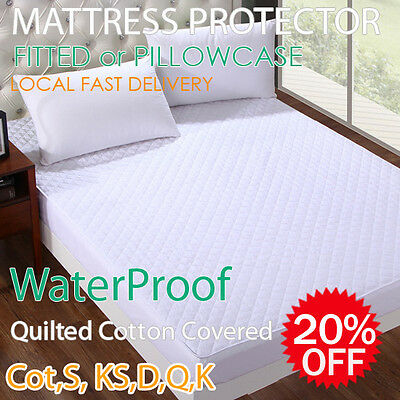 Fully Fitted Cotton Waterproof Mattress or Pillow Protector All Size