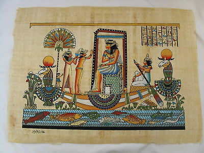 Egyptian Paper Painting Isis On Papyrus Boat 13X17""