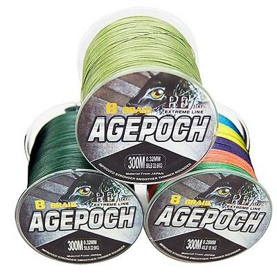 NEW! 8Strands Agepoch Super Strong Dyneema  PE Braided Sea Fishing Line 300M$