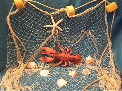 6' X 8'  Fishing Net Sea Shells Starfish Home Decor Lobster, Ocean Theme  Nylon