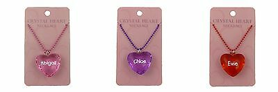 Personalised Girls Heart Necklace - Names F-M - 4 colours available