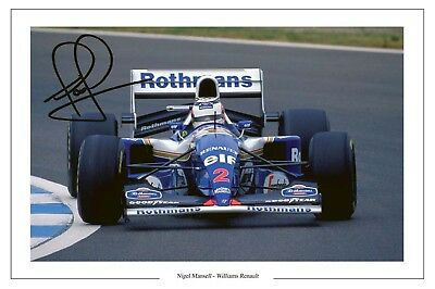Nigel Mansell Williams  Renault F1 Formula One Signed Photo Print