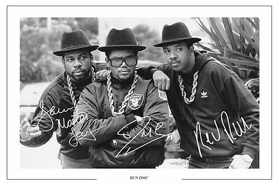 Run Dmc Signed Autograph Photo Print Raising Hell Down With The King