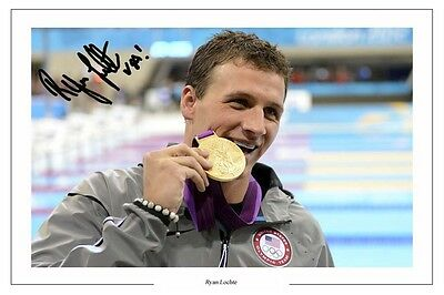Ryan Lochte Swimming Autograph Signed Photo Print London
