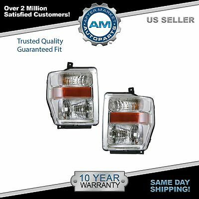 Chrome Headlights Headlamps Left & Right Pair Set for 08-10 Super Duty Pickup