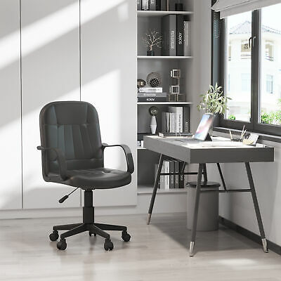 HOMCOM PU Leather Office Chair Ergonomic Conference Adjustable Height Heavy Duty