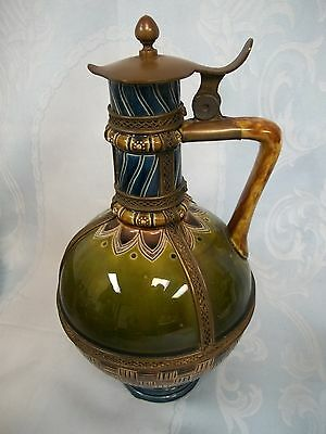 Antique Majolica Late 19Th Century Covered Pitcher With Fine Brass Filigree Work