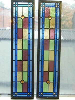 Victorian Edwardian Stained Glass Panels Hand Made Leaded Light Glass Made 131