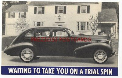 1937 BUICK Original Factory Issue Ad Postcard