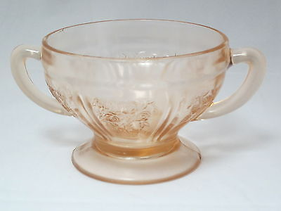FEDERAL GLASS - Sharon Gabbage Rose Pink Depression - FOOTED SUGAR BOWL - 014