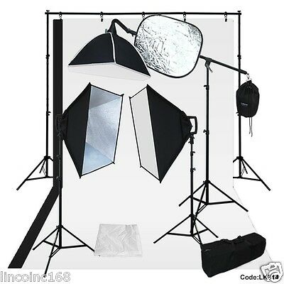 BW Backdrop Support Stand Photography Studio Video Softbox Lighting 3 Kit Linco