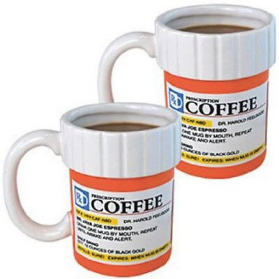 (2) Prescription Mug Pill Bottle Coffee Cup Pharmacy Rx - Medicine Kitchen glass