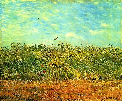 Wheat Field with a Lark by Vincent Van Gogh Giclee Print Repro on Canvas