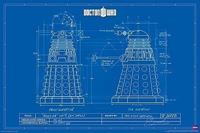 DOCTOR WHO ~ DALEK SCHEMATIC 24x36 POSTER Blueprint Dr Daleks BBC NEW/ROLLED!