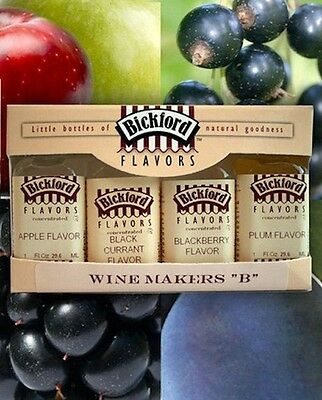 "Wine Makers ""B"" Collection 4 Flavor Concentrate Pack from Bickford #5020 NEW"