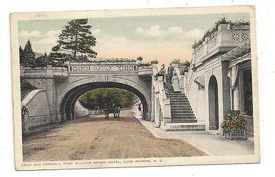 Arch and Pergola, Fort William Henry Hotel Lake George NY Postcard 110713