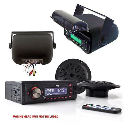 "*KIT* Pyle Marine AM/FM AUX/USB Receiver w/ Housing, 2 x 100W 5.25"" Speakers"