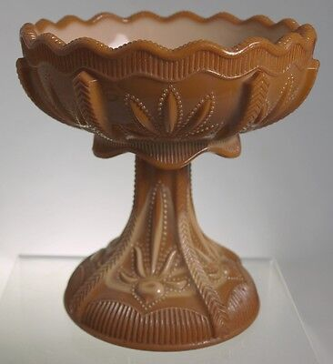 Greentown Indiana - Cactus  -  Open Compote - Chocolate Glass