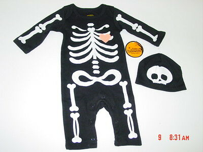 NWT Baby Outfit Infant Halloween Themed Sleeper Playsuit Unisex Skeleton Cap