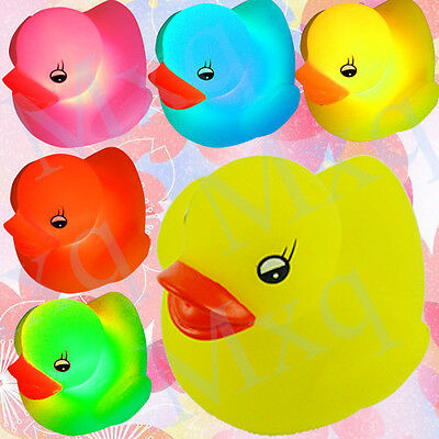 Multi-Color Changing LED Yellow Duck Flashing Bath Lamp Light Toy for Baby Kids