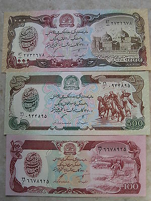 Afghanistan 100-1000 Afghanis 3 Banknote Unc Set Taliban Buy From A Usa Seller !