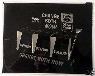1960s Advertising Negative Fram/Sinclair Dino Supreme Motor Oil Change Both Now
