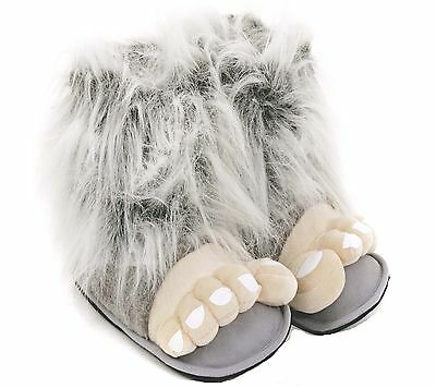 Mens Bigfoot Grey Funny Novelty Slippers Size 6 to 12 UK WARM BOOTS - GREAT GIFT