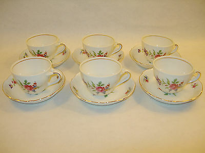 Six Meissen Gardens Demitasse Cups And Saucers Bayreuth Bavaria White Porcelain
