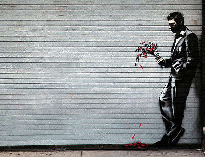 Quality Banksy Art In New York Photo Print (Cropped Man With Flowers)