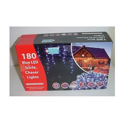 180 Blue Led Icicle Chaser Lights Multi Function 4.6 Metre Length (L180ICBL)