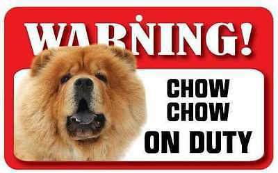 Chow Chow Sign - Laminated Card -  Beware Of Dog 20cm x 12cm